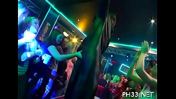 Girls strip tease and are naked Yong girls in club are fucked hard by older mans in arse and puss in time