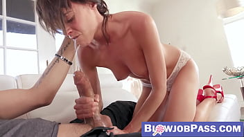 Slutty MILF sucks stepsons dick for supposedly last time