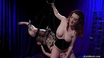 Lezdom in latex whips alt slave