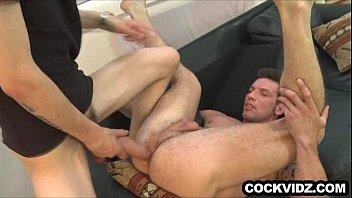 Big uncut cock working its way inside an ass