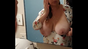 Sexy slut wife getting ready for deep throat  with huge tit's out