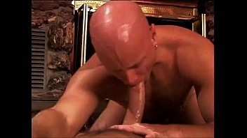 Bald muscular stud gets hot anal pounding