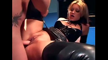 Latex mathop Blonde in a uniform and latex lingerie fucking