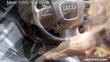 skinny Eastern European bunny live on POV car fucking