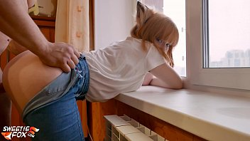 Doggie in pussy Lover doggy fuck tight pussy redhead near the window