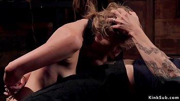 Natural blonde slave banged at training
