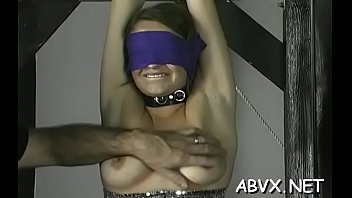 Naked woman bizarre bondage at home with slutty man