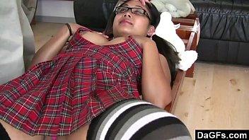 Asian Schoolgirl Showing Pussy