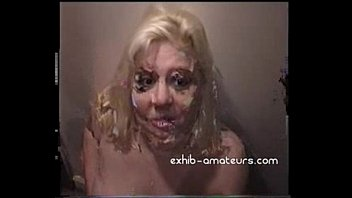 Blonde amateur sucks many cocks with facials