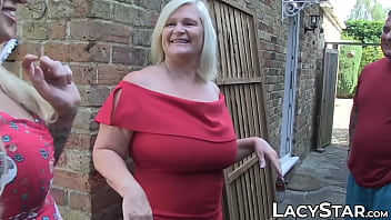 Promiscuous GILF gets a juicy facial after threesome