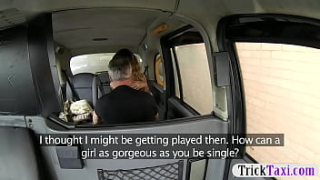 Hot gold digger creampied by the driver