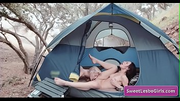 Sexy natural big tit lesbian hot babes Aiden Ashley, Abigail Mac eating and fingering juicy pussy in a tent in the woods
