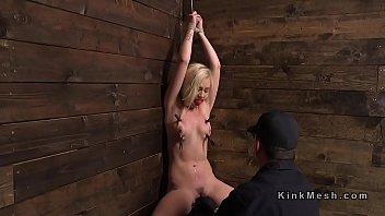 Blonde in back arched bondage vibed