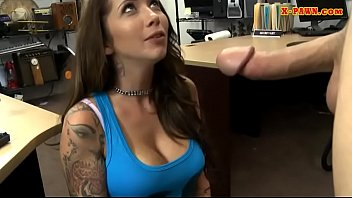 Busty tattooed woman fucked by pawn man