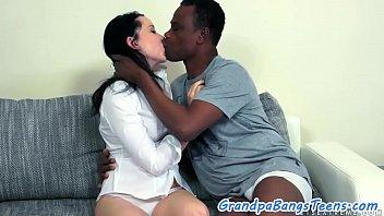 Foreplay loving teen banged by black oldman