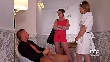 DDF Network Horny maid and wife drain a Husbands balls to Empty video