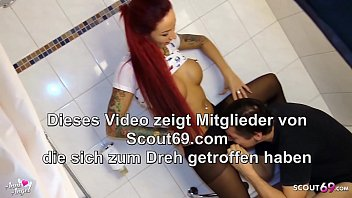 Redhead German Teen in Nylon let him Drink Piss and Feet Cum