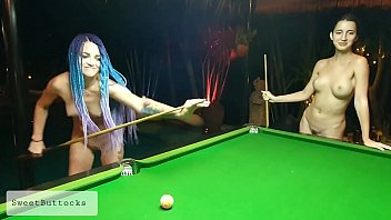 Two naked shameless sluts play billiards