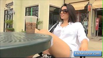 Horny brunette big tit brunette girl Darcie flash her big natural tits in different public places