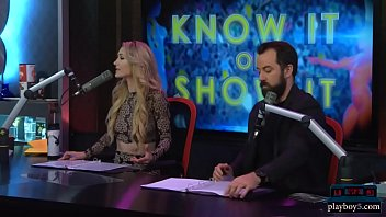 Babes get naked during a questioning game on a morning show