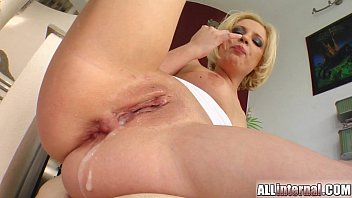 Guy cums inside her ass All internal blondes holes penetrated and cum filled