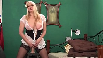 Big ass blonde milf rides her huge dildo and squirt on cam thumbnail