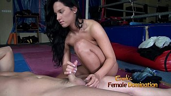Sexy foots bondage - Sexy brunette takes advantage of a slave