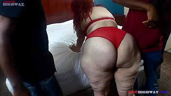 Redhead Ghetto Hillbilly sucking two big black cocks at the same time on BBWHighway