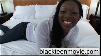 Cute ebony teen fucking big cock