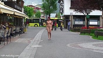 Nude public walking Teen shows her nude body on a public street