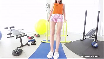 Gorgeous teen babe Loveina masturbating in the fitness room