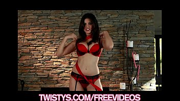 Stunning brunette Sunny Leone shows off her red lace panties thumbnail