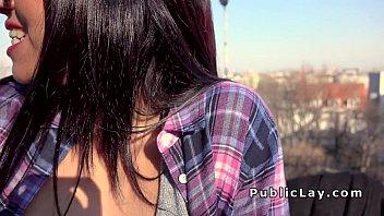 Busty spanish babe sucks in public
