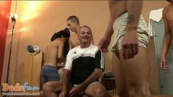 Gay douche equipment Nasty gay coach enjoying team play as a warm-up