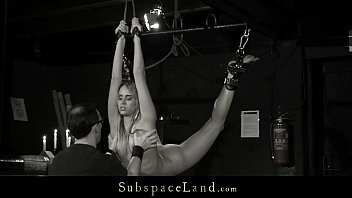 Lingerie bondage and spanking slave Slave mouth disciplined with cumshot after bondage sub sucking