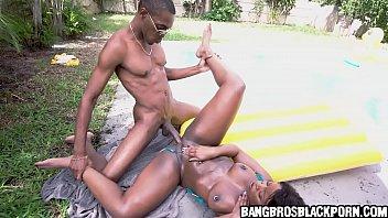 Black milf gets fucked by a long black dick - black porn