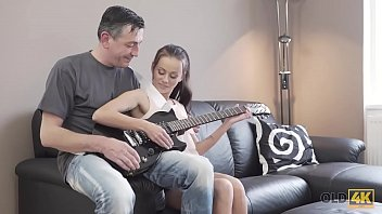 Best lesbian guitar players Old4k. young lassie makes some noise with old bass-guitar player