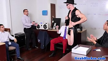 Classy stud assfucked in office threesome