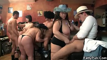BBW bar orgy with chubby party girls
