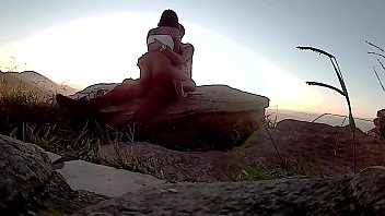 Lucão and Lunna Vaz at the viewpoint in São Thomé das Letras watching the sun rise and fuck in the mountains
