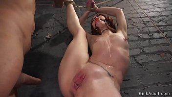 Bound redhead anal creampied