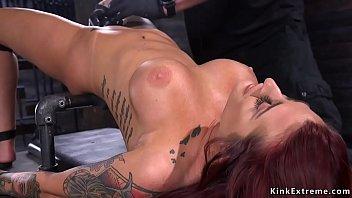 Tattooed redhead gets big tits clamped