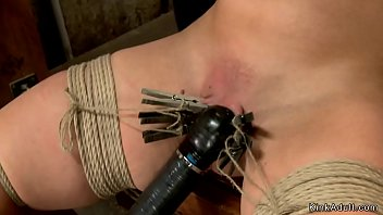 Busty blonde is toyed on hogtie