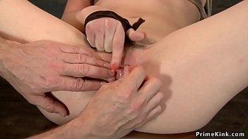 Tied hairy slave riding Sybian