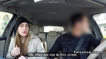 Sexy brunette bangs fake cop at home