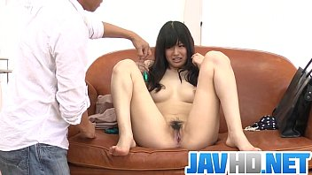 Nozomi strips naked and gives an asian blowjob