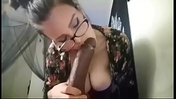 Using a vibrator on the tip - Camgirl sucks huge bbc dildo with vibrator on in panties