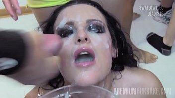 Premium Bukkake - Lola swallows 51 huge mouthful cumshots