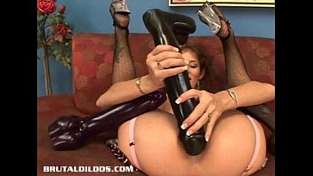 Biggest brutal dildo - Busty babe felony fills her pussy with a monster dildo