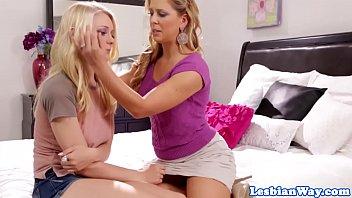 Busty milf pussylicking her lesbian stepteen